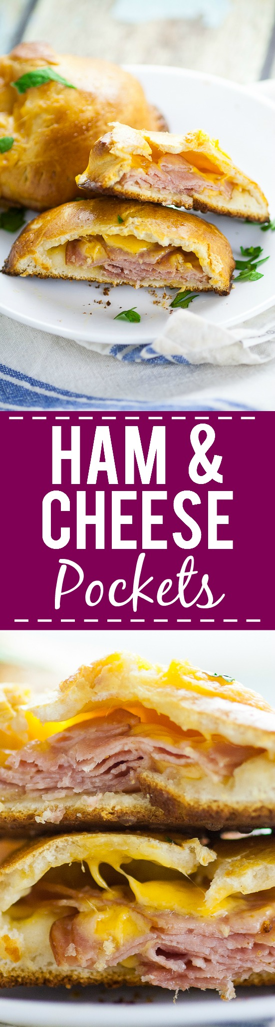 Ham and Cheese Pockets Recipe - For a quick and easy, on-the-go meal make these yummy, cheesy Ham and Cheese Pockets with just 5 ingredients in 30 minutes or less! They're freezer friendly too!