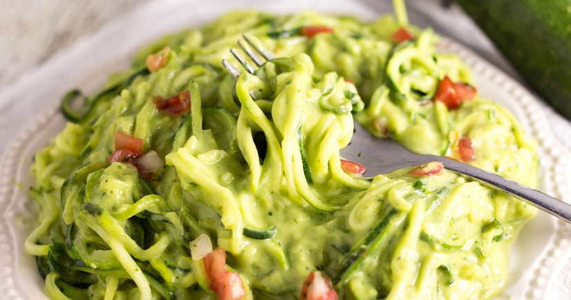 Creamy Avocado Zoodles Recipe - A fresh zucchini noodles recipe that takes less than 20 minutes to make, these Creamy Avocado Zoodles with creamy, fresh and a little zesty sauce are perfect for a simple Summer meal!