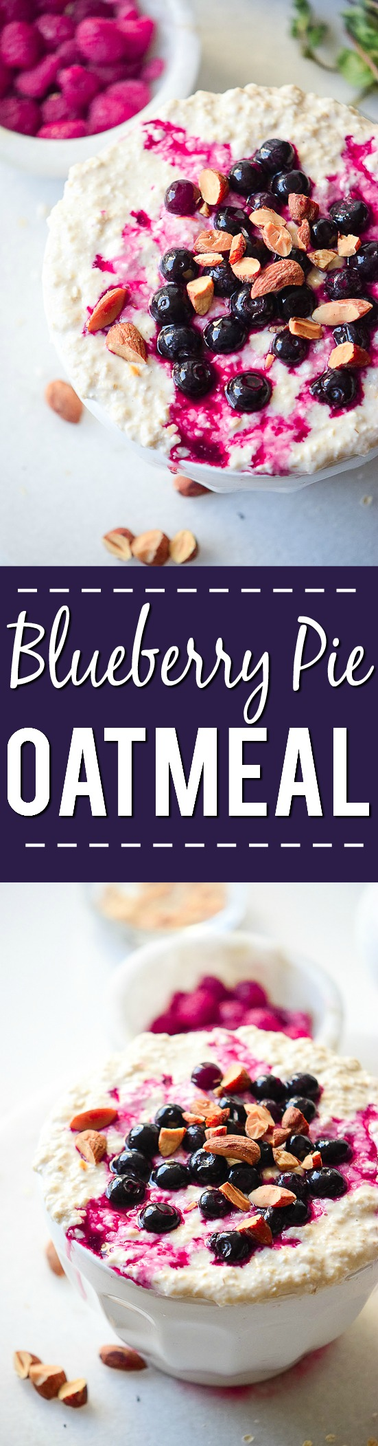 Blueberry Pie Oatmeal Recipe - For a quick and easy breakfast, try this Blueberry Pie Oatmeal recipe that's packed with fresh (or frozen!) blueberries, with a little bit of cinnamon and brown sugar for a healthy breakfast in 10 minutes!
