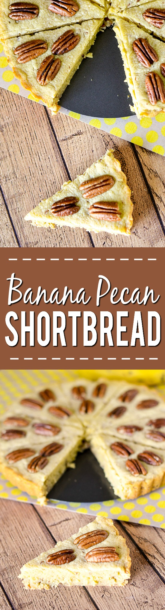 Banana Pecan Shortbread Recipe - Buttery and sweet, this Banana Pecan Shortbread recipe is sure to solve your comfort food craving with ripe, sweet bananas, buttery shortbread, and crunchy pecans. Easy dessert recipe