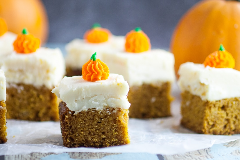 Pumpkin Spice Sheet Cake Recipe - Pumpkin Spice Sheet Cake topped with creamy cream cheese frosting is a classic Fall pumpkin dessert, super easy to make, and a must have for all pumpkin lovers! Delicious pumpkin dessert recipe and SO easy to make too!