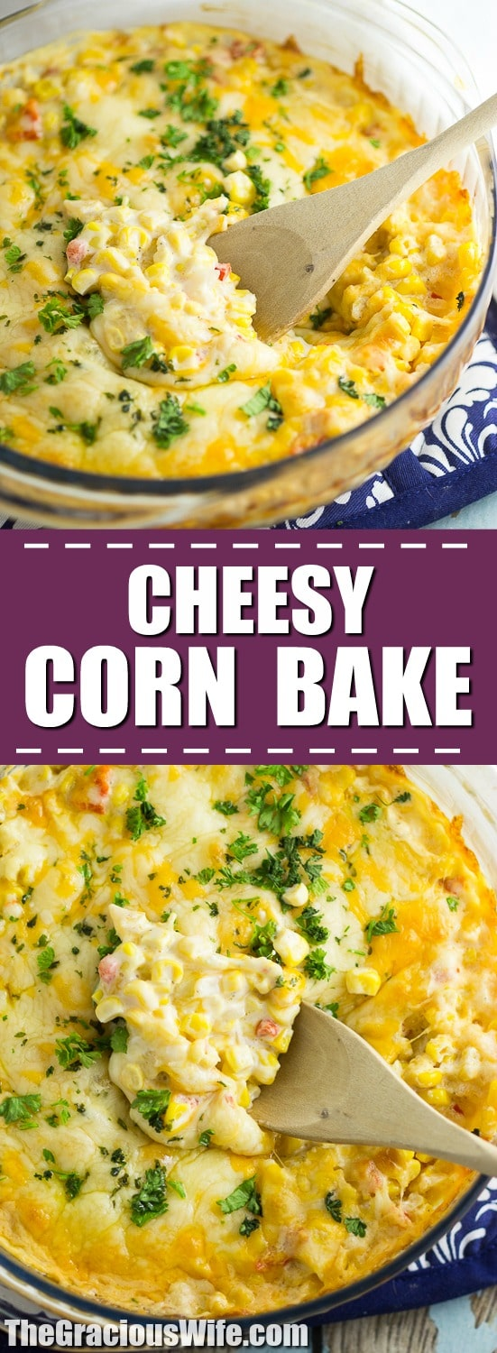 Cheesy Corn Bake Recipe - This Cheesy Corn Bake recipe is creamy, cheesy, and warm. Basically your perfect casserole and comfort food dream! Perfect for a hearty side dish at home, or a dish to pass at a potluck or holiday dinner! Ooooh. This would be an amazing Thanksgiving side dish too!