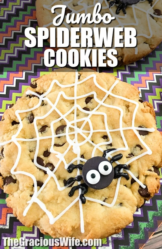Jumbo Spiderweb Cookies Recipe for Halloween - Jumbo Spiderweb Cookies are a fun, quick, and easy Halloween treat for kids.  They're big enough to share and made with the all-time BEST chocolate chip cookies recipe. How fun! My kids will love these! Definitely making for their Halloween party treat!