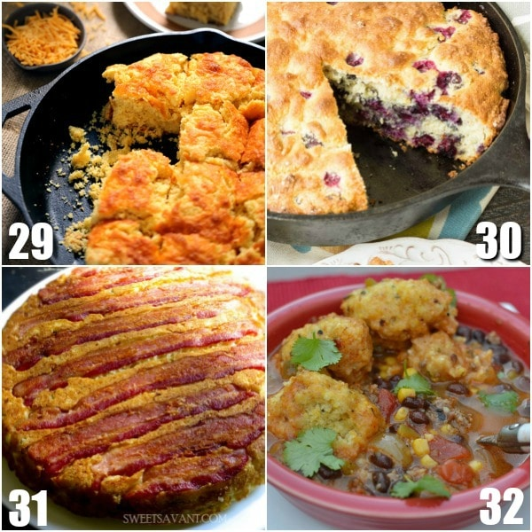 32 Cornbread Recipes - Everyone loves this easy Southern side dish! Find out how to make your favorite cornbread even more amazing with these 32 easy homemade Cornbread Recipes. Whether you like sweet, Southern, casseroles, or muffins, you'll find it all here! Oh. My. Yum. So many cozy recipes!