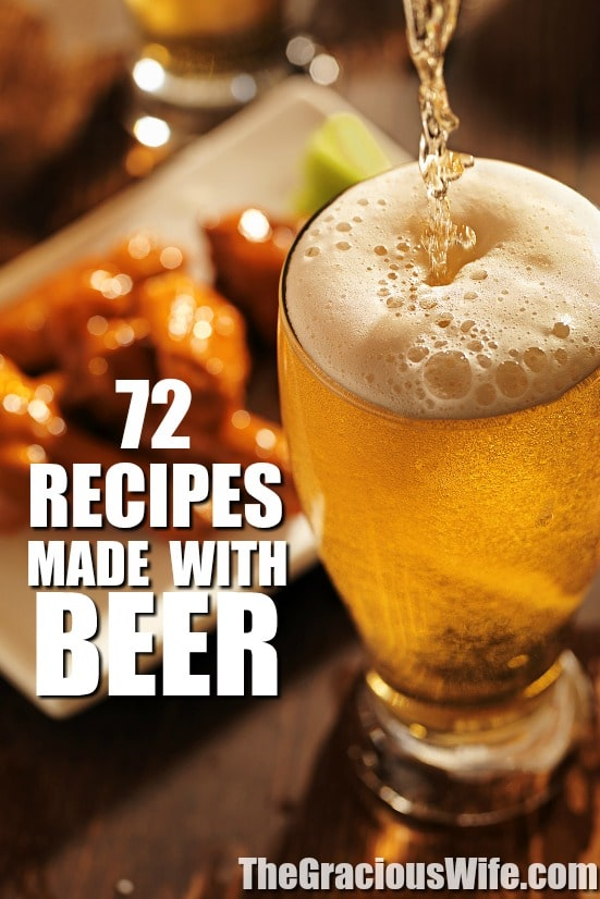 72 Recipes made with Beer - Beer turns an average recipe into cozy comfort food and can turn any food into game day food.  Check out these 72 recipes made with beer for a comfy mouthwatering treat. Omg.  These look amazing.  I love beer batter.