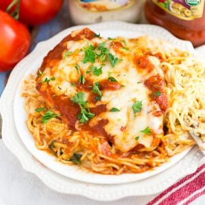 One Dish Baked Cheesy Chicken and Pasta | Easy Recipe