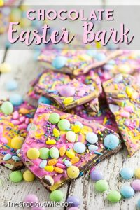 Quick and easy Chocolate Easter Bark is a simple but festive spring treat featuring milk and white chocolate swirled together and topped with Easter candy favorites and sprinkles. No bake Easter desserts make for a less stressful holiday!