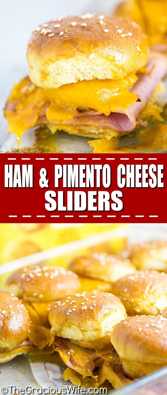 Warm and gooey Ham and Pimento Cheese Sliders take just 5 minutes to prep! Buttery sweet buns, salty ham, creamy and zesty Pimento Cheese Bites make a flavorful explosion in your mouth.  Dip them in the sweet and tangy Red Pepper Jelly sauce to take them from great to drool-worthy. These sliders make an amazing quick and easy snack or easy appetizer. So. Good.