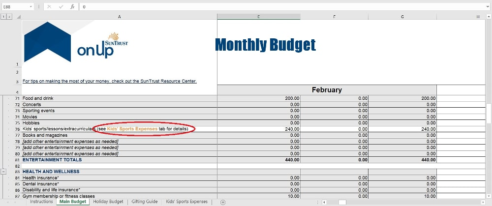 SunTrust Budget Worksheet