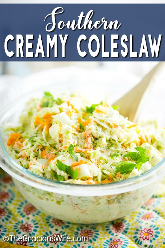 Homemade Southern Creamy Coleslaw recipe is the perfect combination of creamy, sweet, fresh, and tangy. It is quick and easy to make, and has a secret ingredient in the dressing that will make it the best you've ever had! It's my favorite for pulled pork!