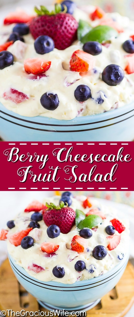 This simple Berry Cheesecake Salad recipe is quick and easy to make! Rich and creamy cheesecake filling is folded into your favorite berries to create the most amazing fruit salad ever! Your family will go nuts over it.