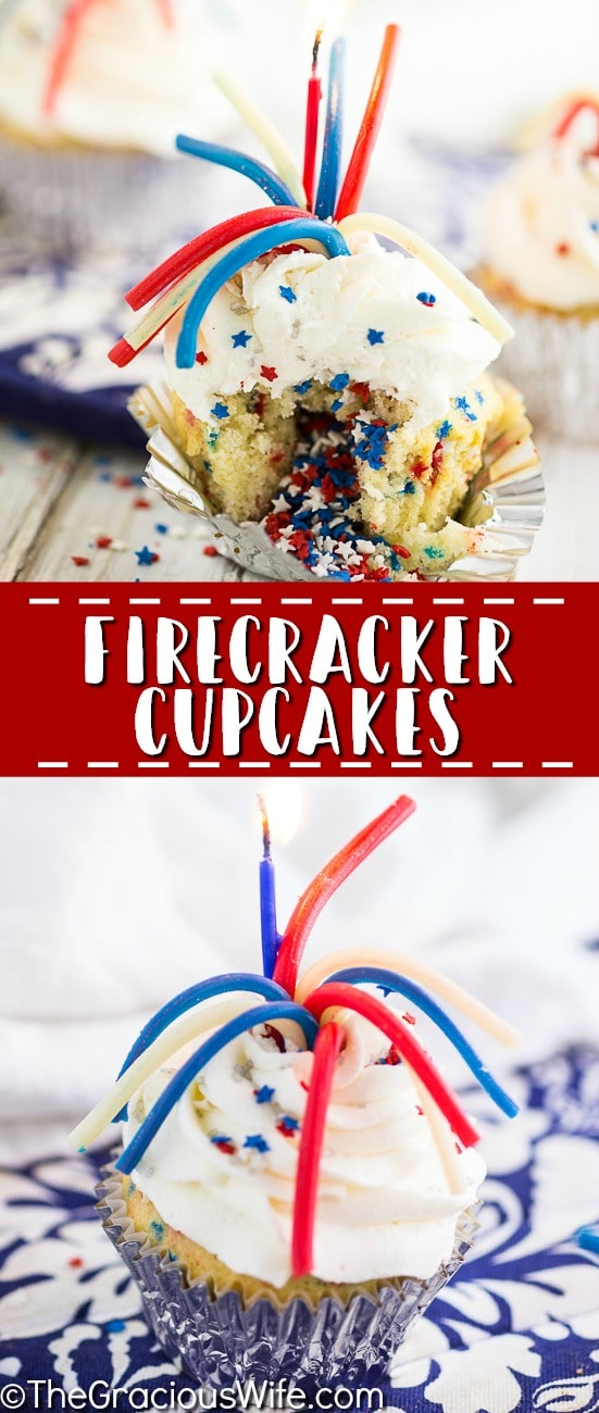These quick and easy Firecracker Cupcakes are so fun and perfect for 4th of July and Memorial Day! These firecracker cupcakes are super festive for celebrating all summer long with a surprise of sprinkles in the middle! Make this 4th of July dessert today!