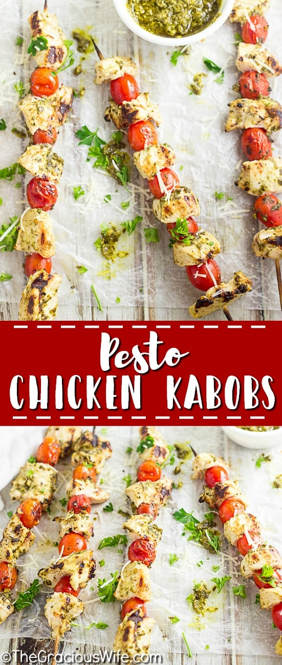 No-fuss, 4 ingredient Pesto Chicken Kabobs just scream summer, made with basil pesto and fresh cherry or grape tomatoes and juicy chicken. Makes a super quick and easy healthy dinner that's perfect for summer grilling!
