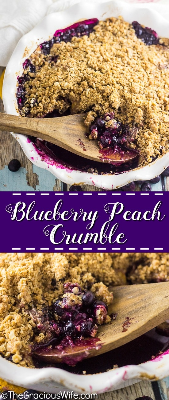 This stunning summer fruit crumble has it all! Blueberry Peach Crumble is bursting with fresh blueberries and peaches and covered with an amazing buttery cinnamon and brown sugar oatmeal crumble for a tangy, sweet, and fresh dessert. A big scoop of cold creamy vanilla ice cream on top is a must!