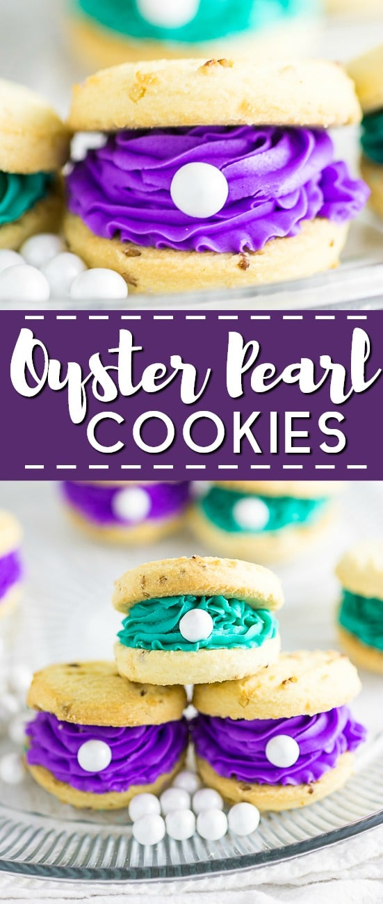 Oyster Cookies with pearls are the perfect treat for a mermaid, beach, Finding Nemo, Finding Dory, or under-the-sea themed party! Everything's better under the sea, including these colorful oyster pearl cookies!