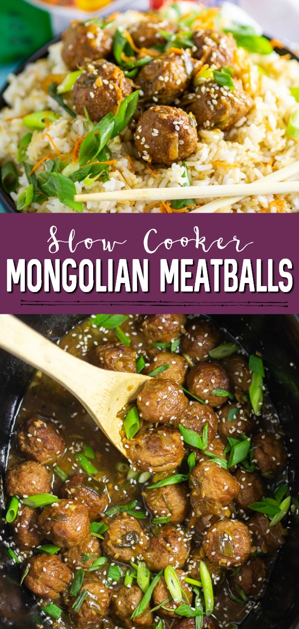 Slow Cooker Mongolian Meatballs are a super easy appetizer recipe featuring savory slow cooker meatballs in a sticky Mongolian glaze sauce.  This restaurant inspired recipe is a family favorite perfect for game day food, holiday appetizers for a crowd, or even served with rice for dinner.