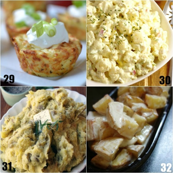 92 Potato Side Dish Recipes - Looking for new ways to serve up your classic favorite? Check out these 92 Potato Side Dish Recipes that are perfect for potlucks, picnics, holidays, and even just family dinner! So many amazing recipes! Mashed, stacks, roasted, scalloped, smashed, salad, au gratin, baked, cheesy, buttery, and more. Oohhh! These recipes would be amazing for potlucks, Thanksgiving, Easter, or Christmas.  All those pictures are making my mouth water!