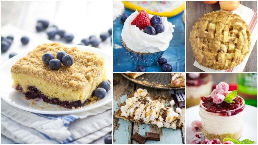 Dessert recipes on The Gracious Wife including classic blueberry buckle, berries and cream cupcakes, traditional apple pie, s'mores pizza, and cranberry white chocolate cheesecake.
