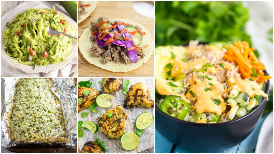 Healthy meal recipes found on The Gracious Wife including creamy avocado zoodles, asian tacos, parmesan garlic salmon, grilled cilantro chicken, and spicy tuna roll bowl