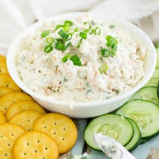 Salmon Cream Cheese Spread Recipe - An easy and fresh Salmon Cream Cheese Spread or dip recipe made with fresh baked salmon, cream cheese, and dill makes a perfect appetizer and salmon dip for parties or a delicious breakfast on a bagel. Love!
