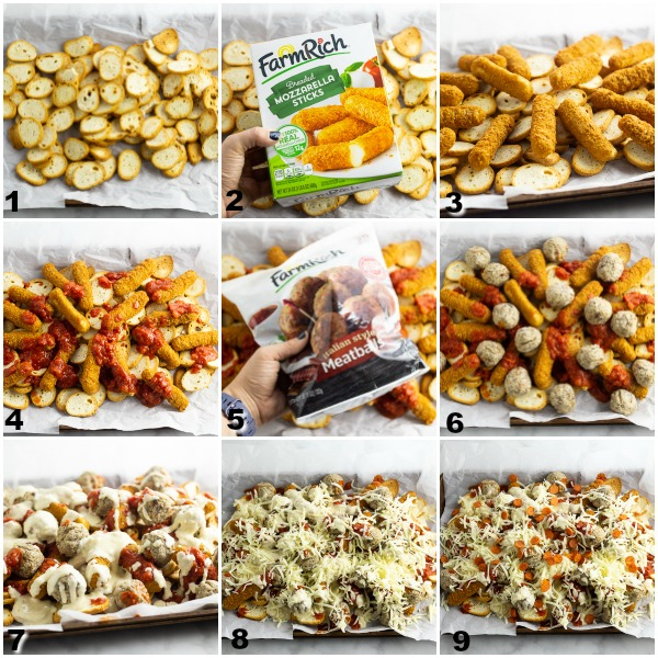 Collage of steps to assemble Baked Italian Nachos before baking