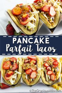Pancake Parfait Tacos with fluffy pancakes filled with creamy yogurt, fresh fruit, crunchy granola, and a drizzle of honey. A quick and easy breakfast idea for kids that they'll love. I love that you can prep to make ahead, and throw together quickly in the morning, and even take on-the-go!