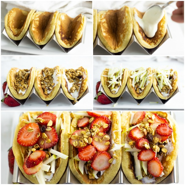 Collage showing how to assemble pancake parfait tacos: adding yogurt, granola, julienned green apple, and sliced strawberries