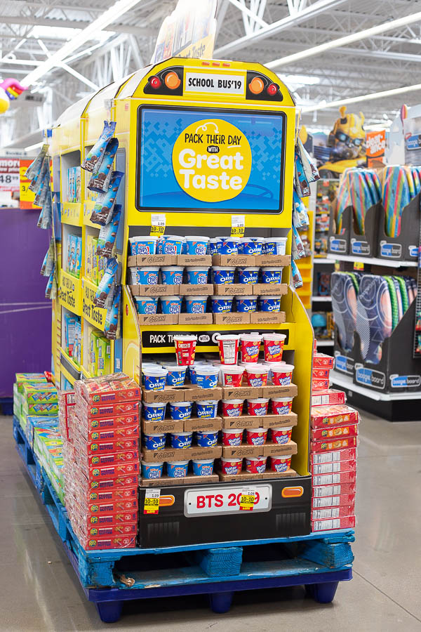 Back to school snack display shaped like a school bus