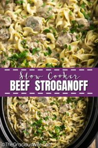 Slow Cooker Beef Stroganoff is so easy to make in the crockpot with tender beef and fresh mushrooms in a creamy herb sauce, served over warm egg noodles for a perfect comfort food family meal. A traditional recipe from scratch with sour cream that is truly the best you'll ever have!