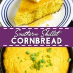 Southern Skillet Cornbread is a savory, southern staple, made with browned butter in a cast iron skillet for gorgeous, crunchy edges.