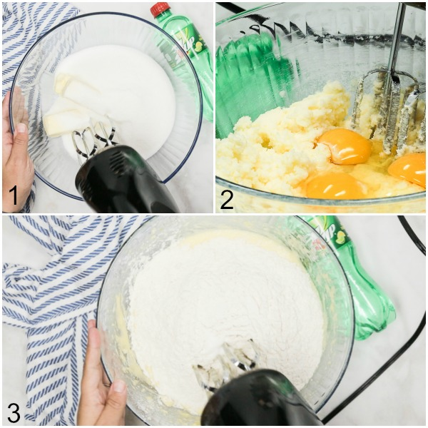 Collage of butter and sugar being creamed together, and eggs and flour being added and mixed into the batter.
