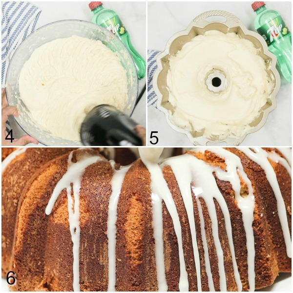 Collage of 7Up being mixed into the batter, batter being poured into a bundt pan, and glazed being drizzled on top of a cooked cake.
