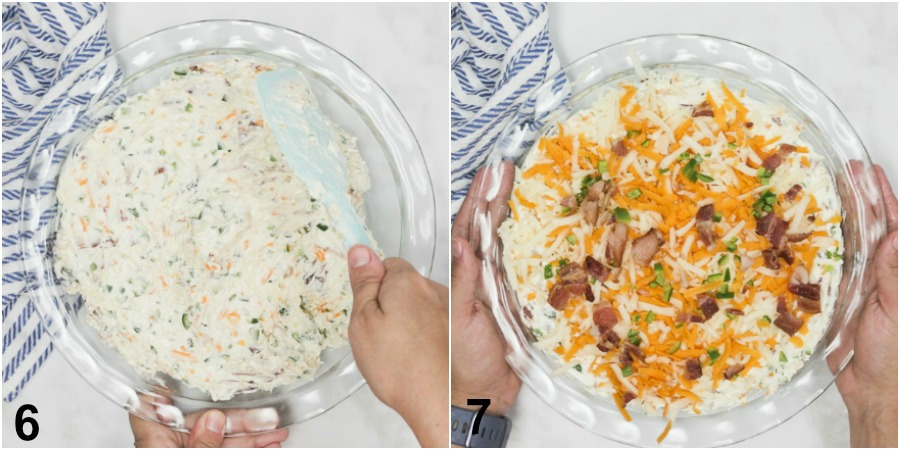 Adding jalapeno popper dip to pie dish and putting toppings on top.