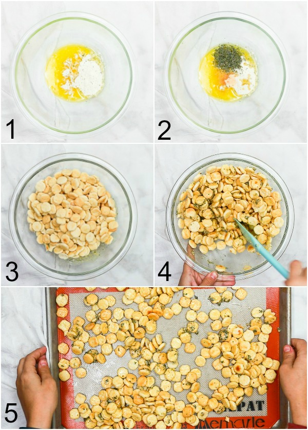 Collage of how to make ranch oyster crackers