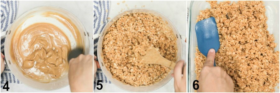 "Collage of peanut butter and rice cereal being added to corn syrup mixture. Then the whole thing being pressed into a 9""x13"" baking dish coated in butter."