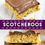 Easy, no bake Scotcheroos are chewy, sweet cereal bars with bold flavors like peanut butter, chocolate, and butterscotch, all in one decadent treat! This is the BEST recipe. They turn out so soft and gooey! Plus, video!