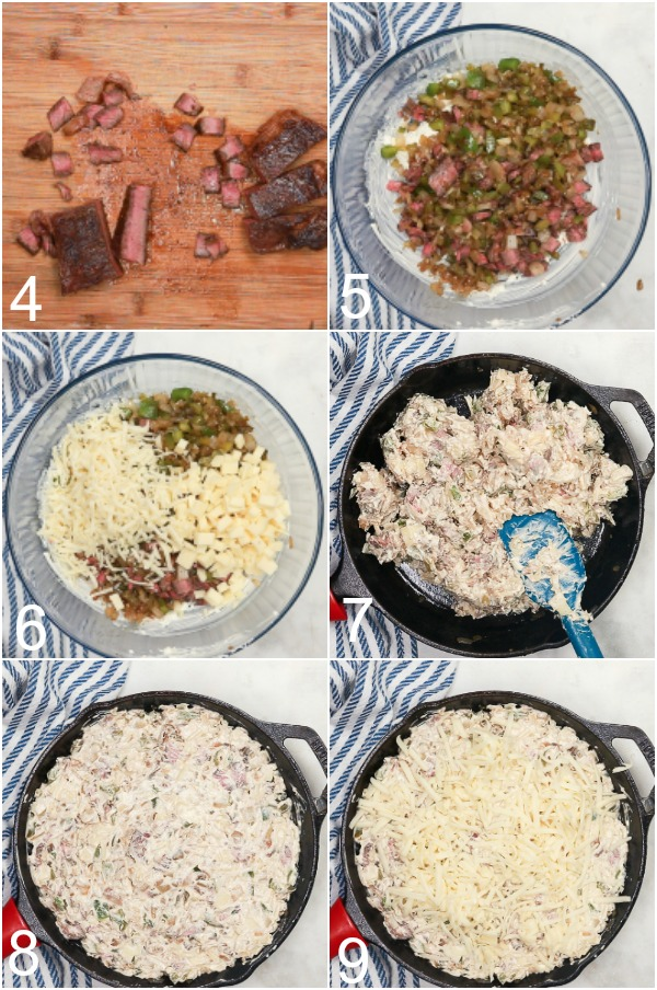 Collage of how to make Philly Cheesesteak Dip