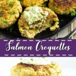 Salmon Croquettes are a classic southern dish perfect for an easy family dinner. Bright, tangy remoulade pairs with these delightful fresh and golden brown salmon croquettes to make a quick, easy, and healthy dinner. #easyrecipe #salmon